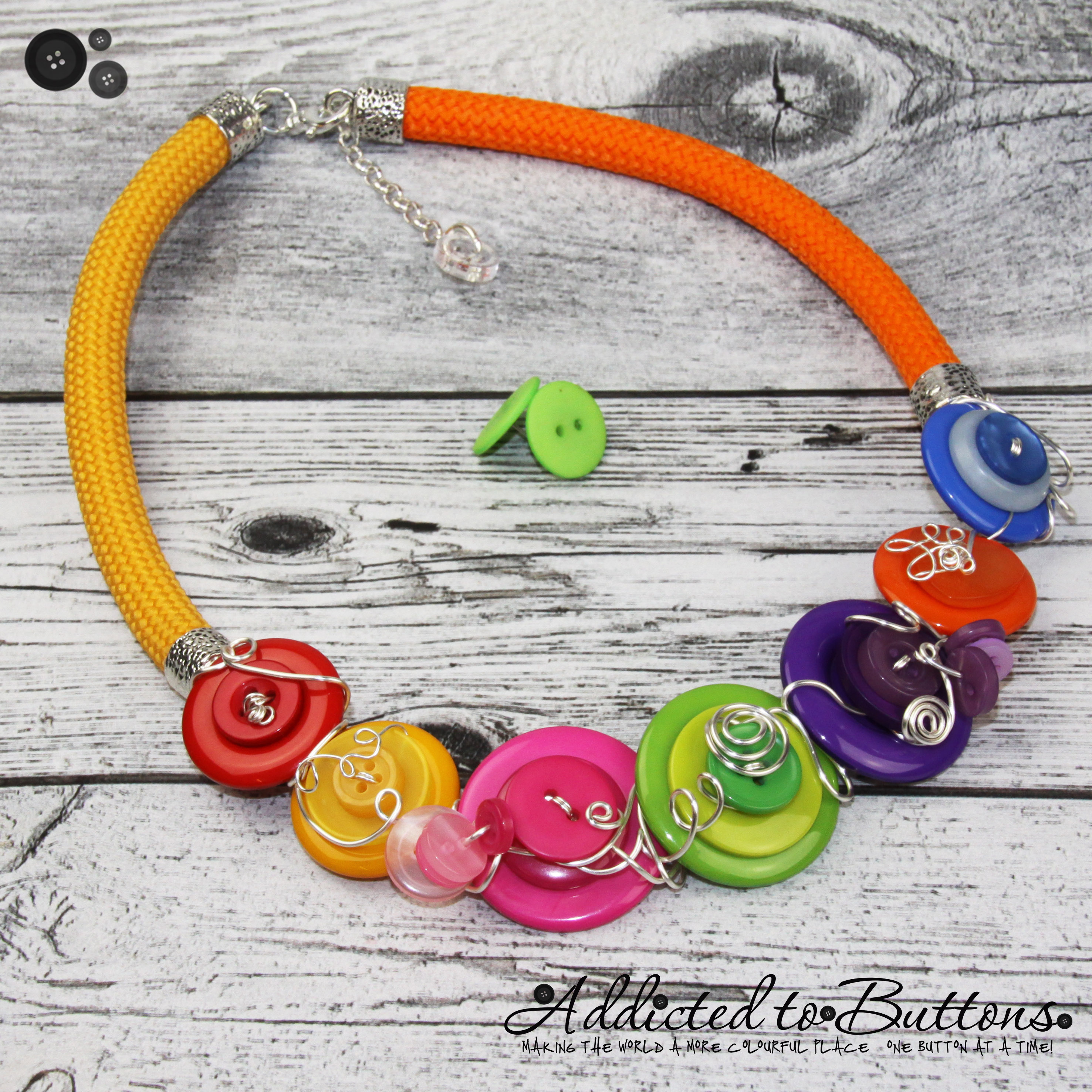 Rainbow Twist - Corded Fusion Button Necklace