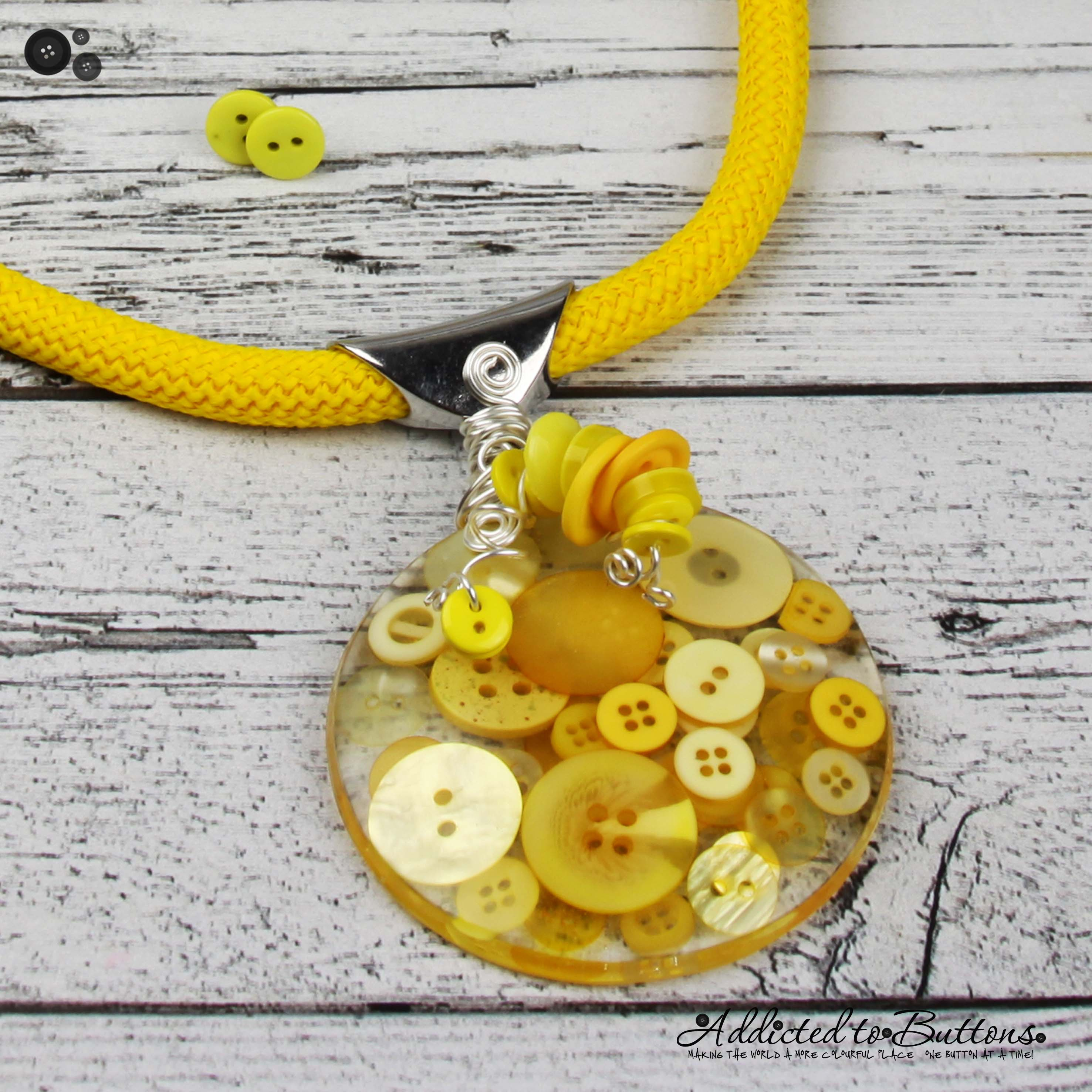 Yellow Corded Resin Button Pendant